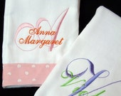 Monogrammed Ribbon Trimmed Burp Cloth | Personalized | Embroidery | Monogram | Name | Burpie | Cloth | Lucy's Pocket