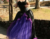 Purple Day dream Victorian Ball gown skirt formal prom wedding bridal purple black gothic dance -- You Choose Size -- Sisters of the Moon