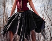 Asymmetrical skirt Black Mourning-- You Choose Size -- Sisters of the Moon Witch Vampire Gothic Halloween