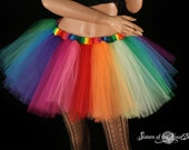 Tulle TUTU skirt Over the Rainbow pride carnival costume party Run race tutu roller derby gogo style cosplay clown - You Choose Size - SOTMD