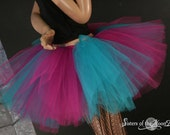 Adult tutu fuchsia and teal Monster skirt extra puffy dance costume roller derby style  --You Choose Size -- Sisters of the Moon