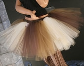 Tutu skirt adult choclate sunday Extra puffy mixed gold ivory brown dance ballet costume race run  -  You Choose Size -- Sisters of the Moon