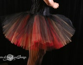 Royalty tutu extra puffy Black red and gold three layer petticoat dance costume roller derby --You Choose Size -- Sisters of the Moon