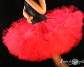 Mega huge red Petticoat tutu skirt extra poofy Adult  ruffles dance costume halloween -- You Choose Size -- Sisters of the Moon