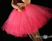 Shocking Pink Petticoat tutu skirt hot pink extra poofy Adult --You Choose Size -- Sisters of the Moon
