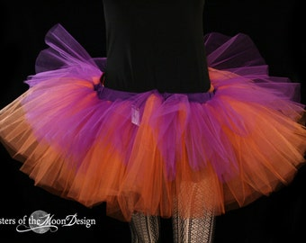 Layered Purple and orange rave adult dance tutu -- You Choose Size -- Sisters of the Moon