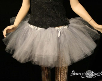 Silver iridescent adult tutu skirt glimmer tulle -- You choose size -- Sisters of the Moon