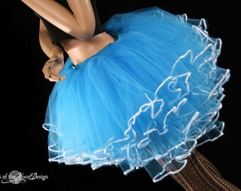 Queen Alice tutu skirt Turquoise white ribbon trimmed huge poofy adult costume dance wedding bridal halloween--You Choose Size