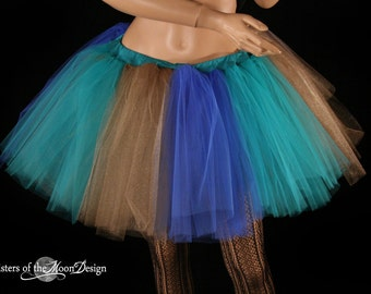 tutu skirt adult extra puffy Moody Monster royal teal gold punk goth costume dance petticoat --You Choose Size halloween dance