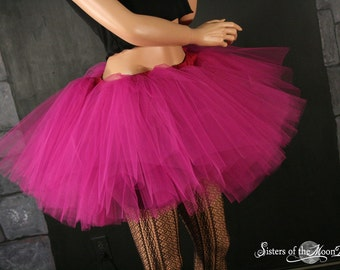 Fuchsia petticoat adult tutu dance skirt Extra puffy three layer dance costume petticoat race run - You Choose Size - Sisters of the Moon