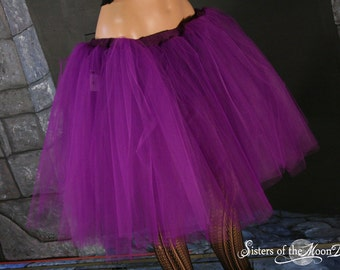 Purple adult tutu skirt Romance halloween extra poofy knee length gothic dance Petticoat - You Choose Size -- Sisters of the Moon