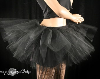 gothic tutu skirt Adult Midnight black extra poofy With Underskirt dance swan roller derby --You Choose Size -- Sisters of the Moon