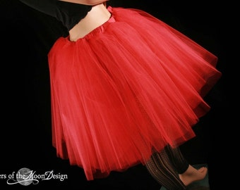 Red Romance Lydia Tutu skirt extra poofy knee length Halloween Adult costume gothic dance - Ready to ship - Small - Sisters fo the Moon