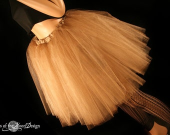 Antique Gold Romance tutu Tulle skirt knee length glimmer bridal bridesmaid wedding petticoat --You Choose Size-- Sisters of the Moon