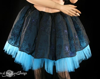 Blue Midnight flower sparkle tutu skirt adult gothic dance prom wedding ballet princess costume - You Choose Size - Sisters of the Moon
