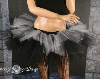 Layered two tone gothic adult dance tutu Black and silver dance costume gogo dance club wear  -- You choose size -- Sisters of the Moon