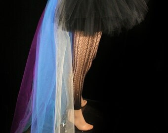 Peacock bustle black tutu skirt hi low Adult halloween costume dance gothic ballet  - You Choose Size -- Sisters Of the Moon