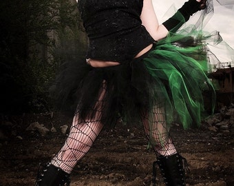 tutu skirt Adult Bustle Toxic streamer black and green halloween costume goth gothic dance --You Choose Size -- Sisters of the Moon
