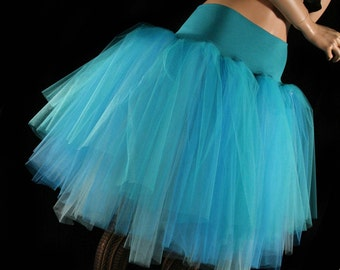 Three Layer Petticoat tutu skirt teal turquoise aqua Adult dance costume bridal princess winter queen - You Choose Size- Sisters of the Moon