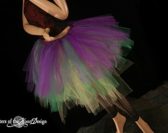 Mardi gras Streamer tutu skirt knee length three tier purple green yellow adult carnival - You Choose Size -- Sisters of the Moon
