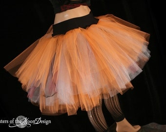 Three Layer tulle tutu skirt adult Petticoat fire dancer Lava orange silver black dance costume cosplay halloween  - You Choose Size - SOTMD