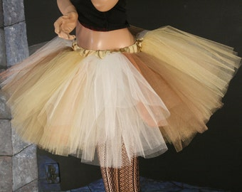 Tutu skirt adult - Iridescent - Extra puffy mixed gold ivory brown dance --  You Choose Size -- Sisters of the Moon