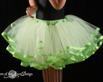 Lime Crime tutu petticoat skirt adult lime with apple trim Halloween costume extra poofy carnival - You Choose Size - Sisters of the Moon