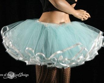 Aqua frill tutu skirt poofy skirt teen Adult white ribbon trimmed petticoat run dance bridal wedding - you choose size - Sisters of the Moon