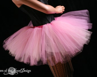 Tutu skirt Peek a boo three layer paris pink and peach Adult ballet dance roller derby style -- You Choose Size --  Sisters of the Moon