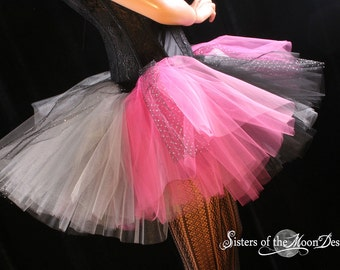 Starry Night tutu skirt extra puffy adult pink black silver mardi gras party costume -- You choose Size -- Sisters of the Moon