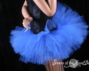 Adult tutu Mini micro All Royal Blue Peek a boo style skirt dance costume roller derby --You Choose Size -- Sisters Of the Moon