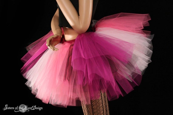 Iced Rose tutu skirt Extra puffy pinks black adult halloween costume dance club wear bridal --  You Choose Size -- Sisters of the Moon