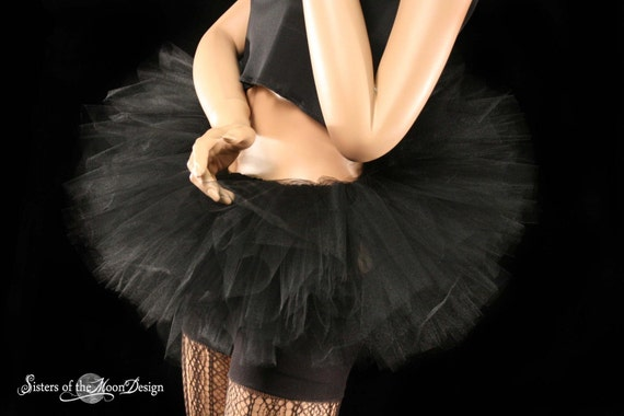 Peek a boo mini midnight black gogo tutu skirt Adult gothic dark costume dance halloween -- You Choose Size -- Sisters of the Moon