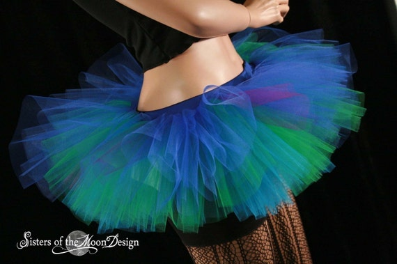 Peacock Peek a boo mini tutu skirt Adult turquoise green royal costume roller derby -- You Choose Size -- Sisters of the Moon