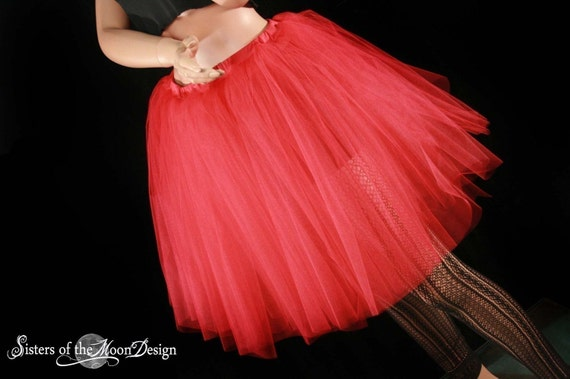 Red Romance Lydia Tutu skirt extra poofy knee length Halloween Adult costume gothic dance --You Choose Size -- Sisters of the Moon