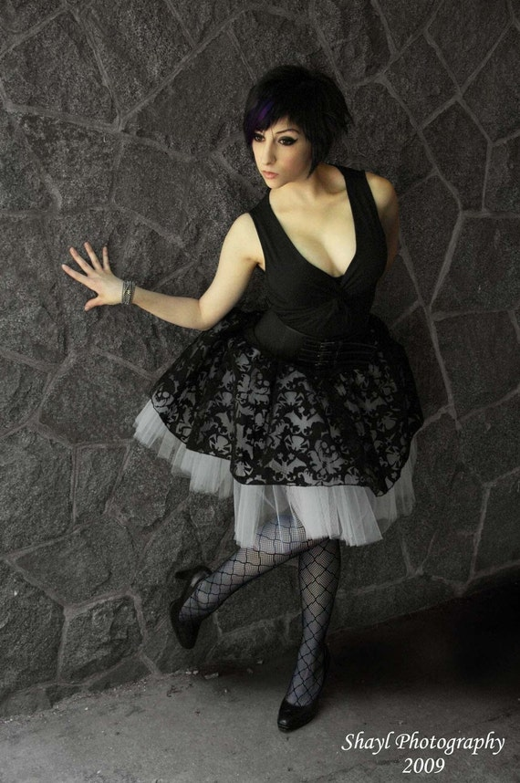 Custom color Extra Long Black Skull  tutu skirt Adult -- You Choose Size -- Sisters of the Moon