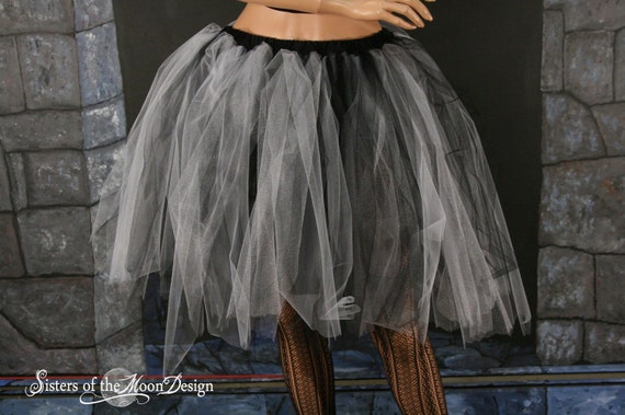 Adult tutu Streamer knee length skirt white and black gothic roller derby costume halloween --You Choose Size -- Sisters of the Moon