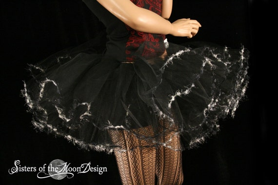 black adult tutu skirt with eyelash trim extra poofy -- You Choose Size -- Sisters of the Moon