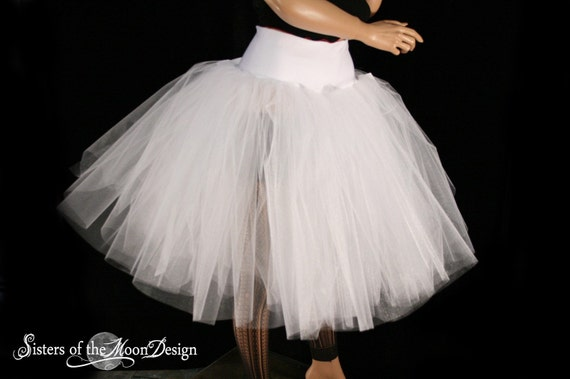 White Victorian Romance Tutu Tulle skirt extra poofy knee length Adult bridal formal dance wedding -- You Choose Size -- Sisters of the Moon