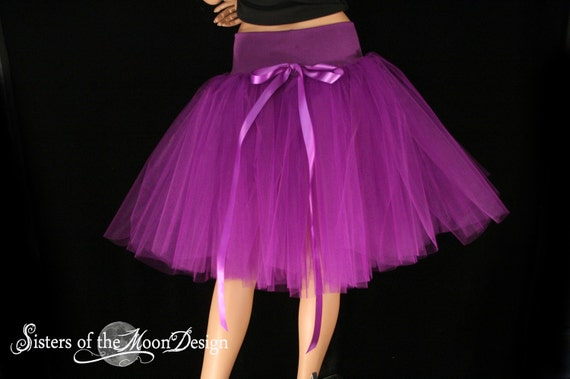 Purple Victorian Romance Tutu skirt extra poofy knee length Adult -- You Choose Size -- with underskirt