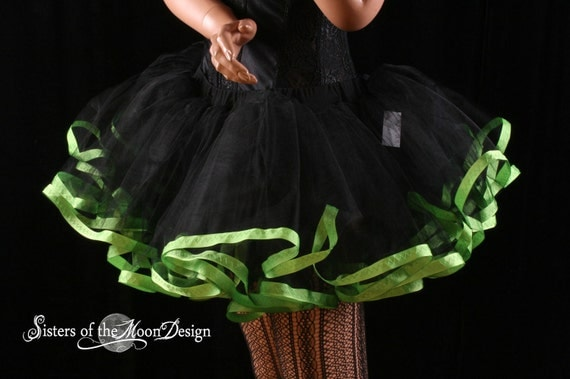 Black TUTU skirt trimmed apple green gothic Halloween costume poofy dance event petticoat - You Choose Size - Sisters of the Moon