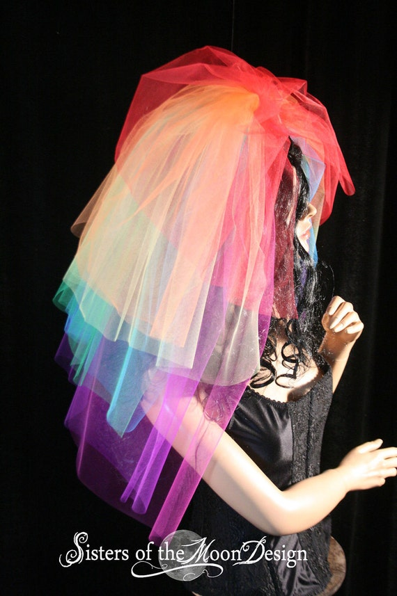 Rainbow wedding veil bridal hair piece layered heaven pride halloween bride costume colorful Bachelorette Party -- Sisters of the Moon