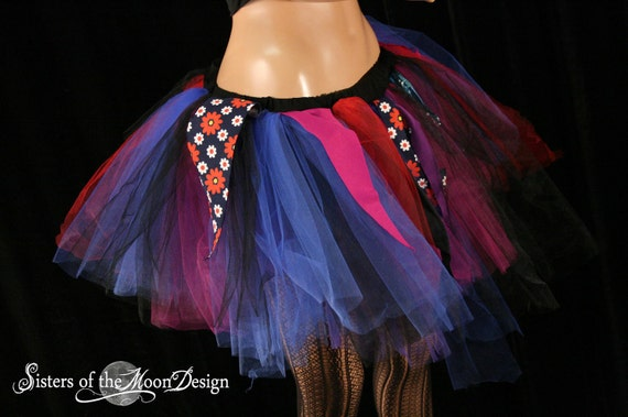 Vintage flower Trash tutu skirt extra poofy streamer Adult -- XLarge  -- READY TO SHIP -- Sisters of the Moon