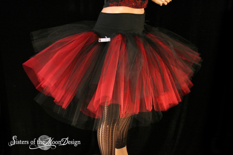 Hell Fire Three Layer Petticoat Tutu Skirt Red Black Adult