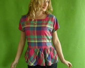PREPPY Ruffled Top Madras Vintage 80s L Hot Pink and Blue Plaid