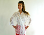 PURE White Lace Vintage 80s Shorty Kimono Robe M L Deadstock New with Tags
