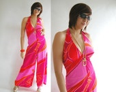 Psychedelic Jumpsuit Vintage 60s 70s Halter with Deep Plunge M  //  Groovy Fashion at Empress Jade
