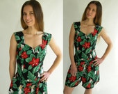 Vintage 80s Romper Playsuit Mini Jumpsuit L Red and Green Hawaiian Floral