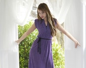 Plum Purple Vintage 70s Party Dress Deep Slit M  // Disco Dresses at Empress Jade
