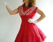 Red Vintage 40s 50s Party Dress Tulle Ruffles Can Can Costume S  / /  Party Dresses at Empress Jade